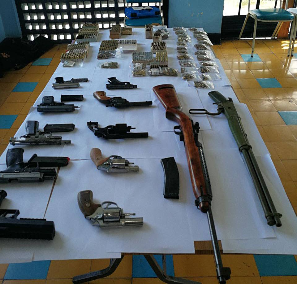 The guns and ammunition seized at a house in Barrackpore.
