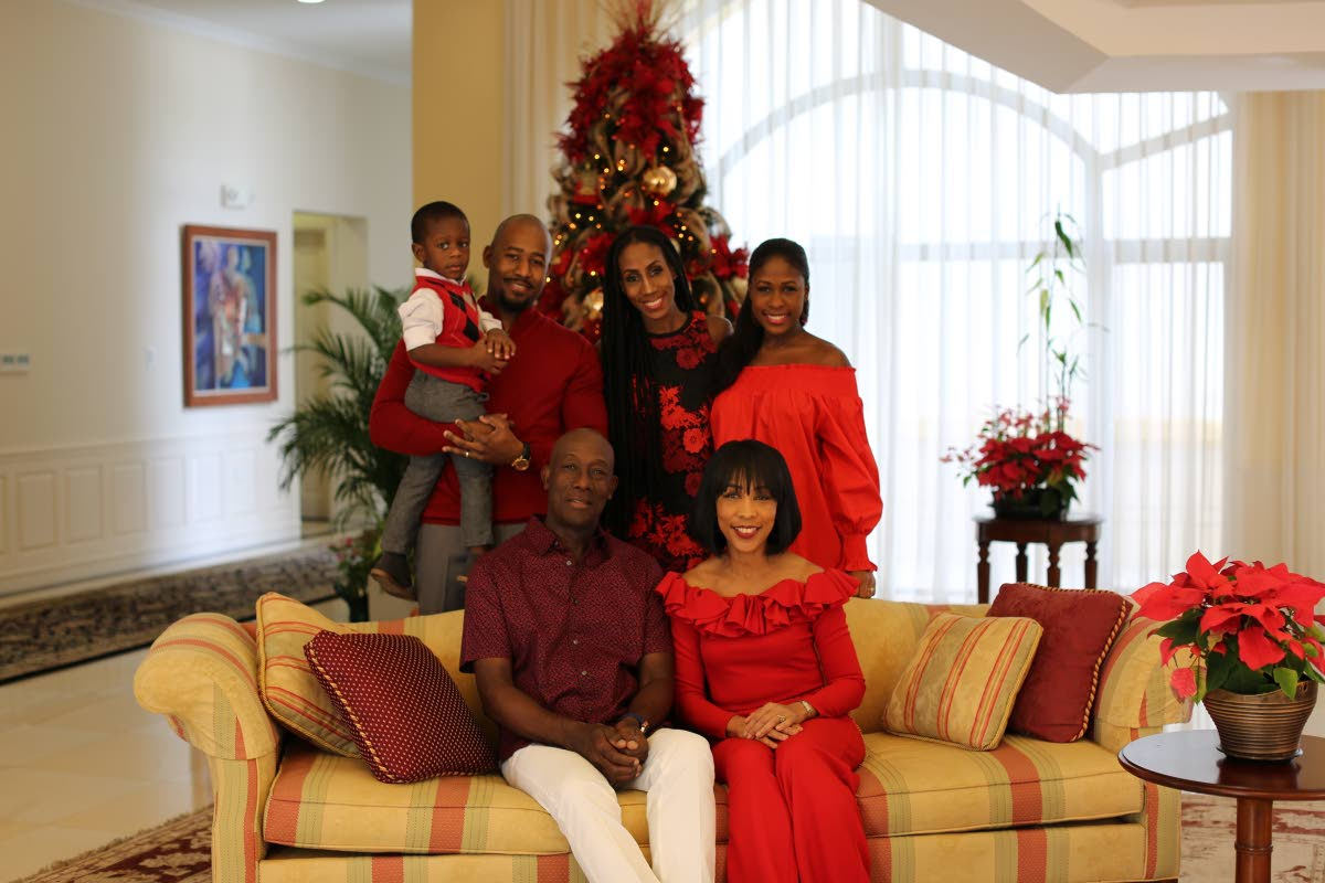Rowleys' Christmas: Prime Minister Dr Keith Rowley, his wife Sharon, daughters Sonel, standing at right, Tonya Rowley-Cuffy, son-in-law Kareem Cuffy and grandson Lucas Kristian in family photograph for Christmas. Photo courtesy the Office of the Prime Minister.