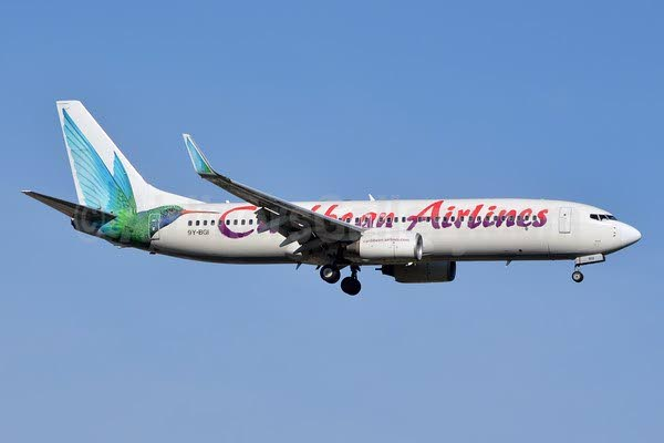 Caribbean Airlines Limited (CAL) plane mid-flight.