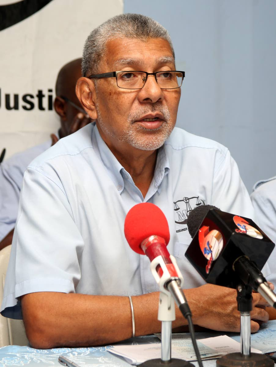 Movement for Social Justice political leader David Abdulah at a press conference yesterday at the party's San Fernando office.