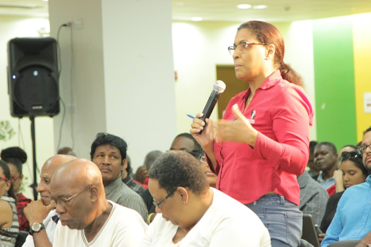 An executive member of the TT Chess Association makes a point during a panel discussion on the need for National Governng Bodies to diversify their sources of income.