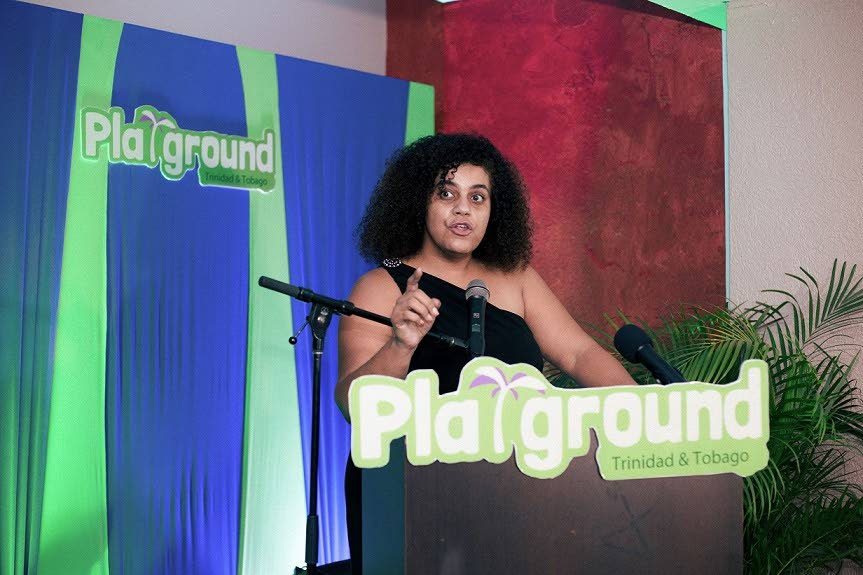 Launch of Playground.TT: Playground.TT CEO and founder Elise Jones speaking at the tech tourism site's launch in St James on January 3. PHOTO COURTESY ATIBA CUDJOE.