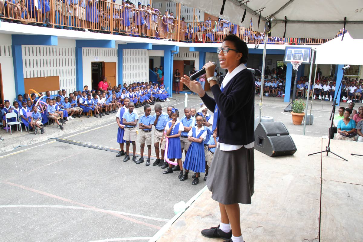2016 National Junior Calypso monarch Sharissa Camejo performs for students of the Morvant Anglican School at the launch of the 2018 TUCO/FCB National Junior Calypso Monarch competition and Junior Calypso Roving Tent.  PHOTO BY SUREASH CHOLAI