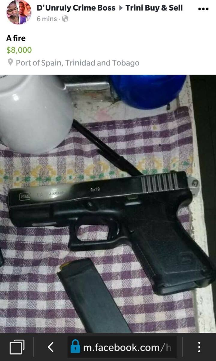 FIRE: The gun which was advertised by the man on Facebook.