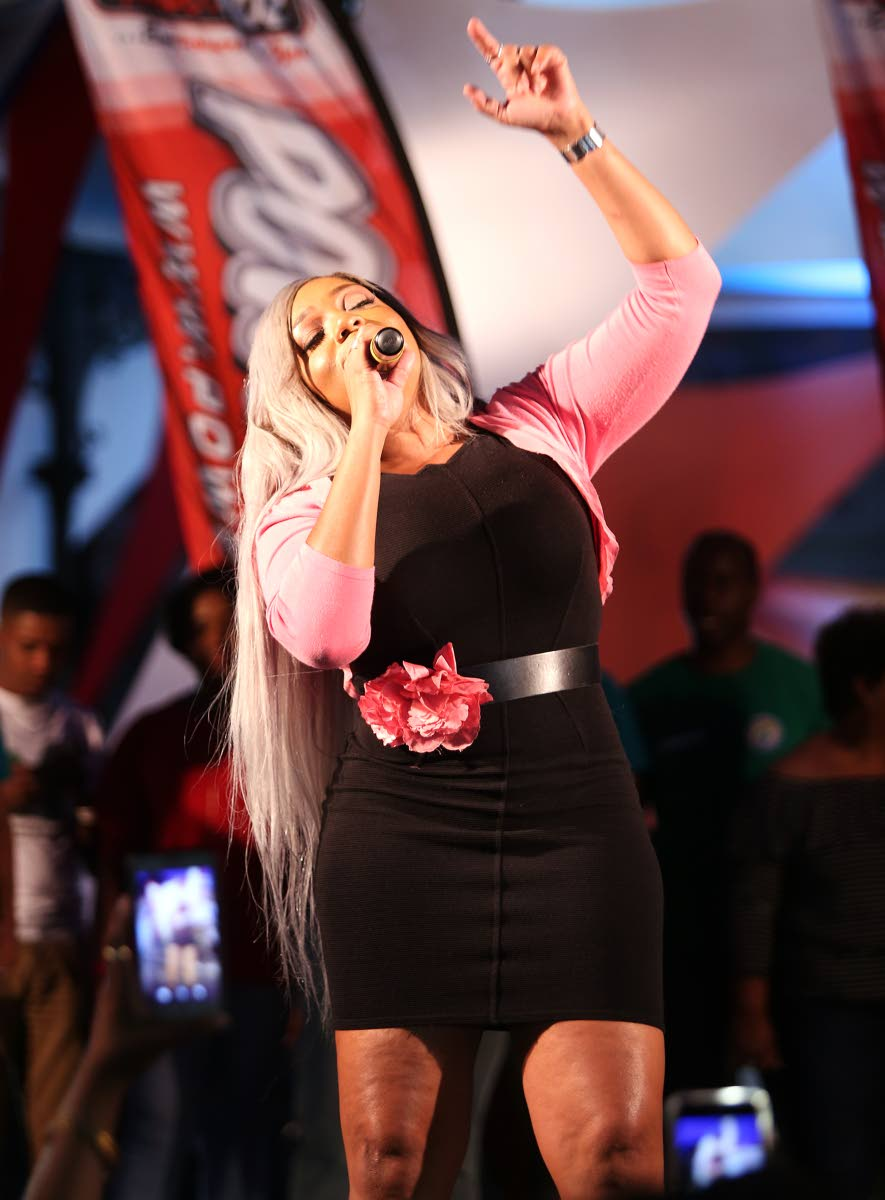 Destra Garcia performs at Woodford Square,  Port of Spain after receiving the Downtown Carnival Committee award at the launch of the Downtown Carnival yesterday.