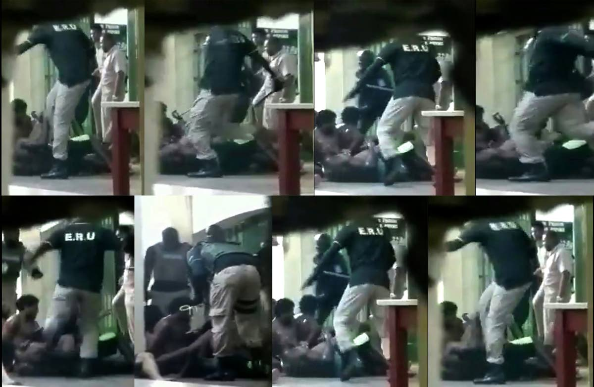 A composite photo of images from a video, posted on social media, in which prison officers are seen beating prisoners.