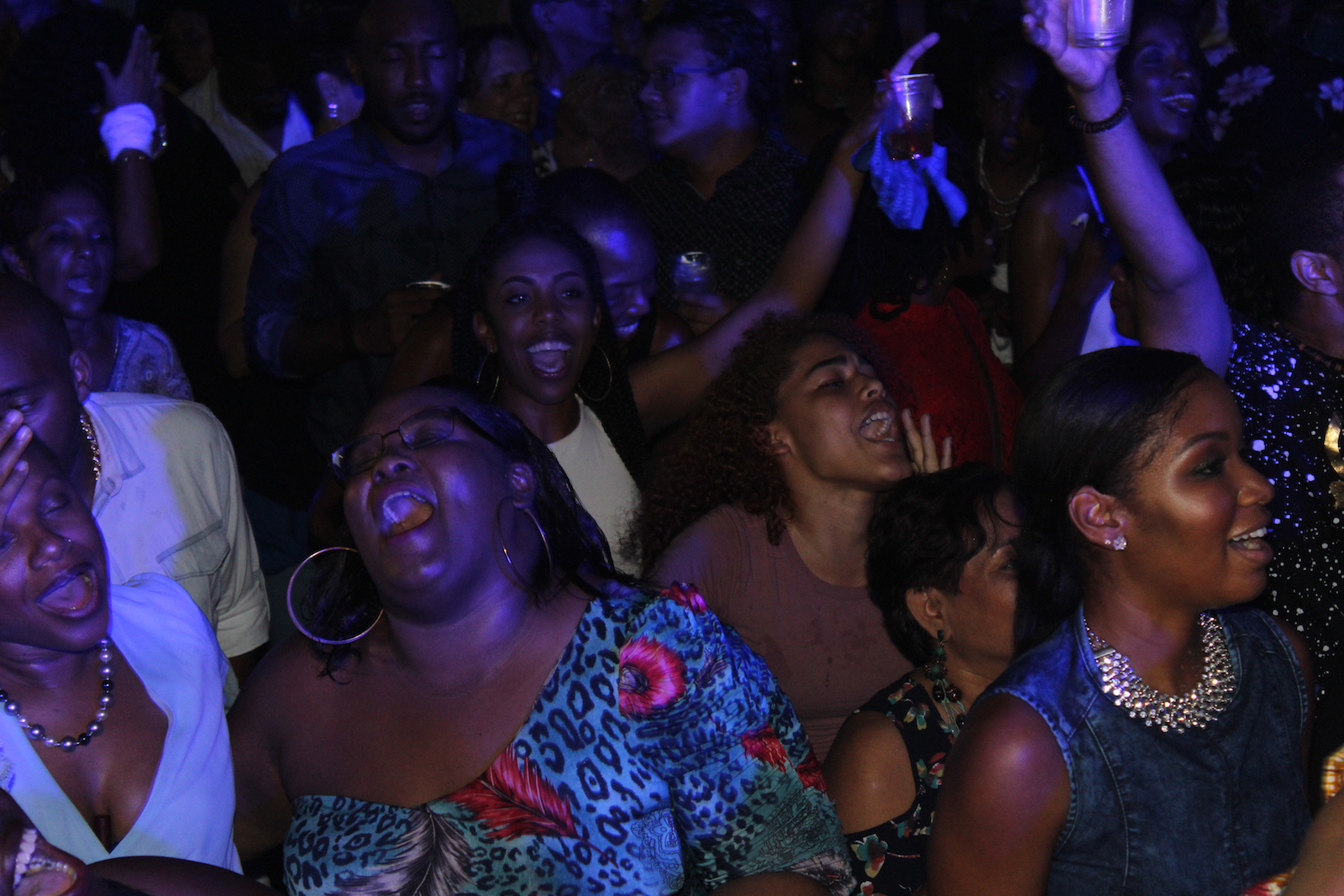 File photo: Patrons scream and cheer for two-time Soca Monarch king Voice as he was making his way on stage for  Bishop's Fete Cocktails, Denims and Diamonds! at Estate 101, Saddle Road last year.