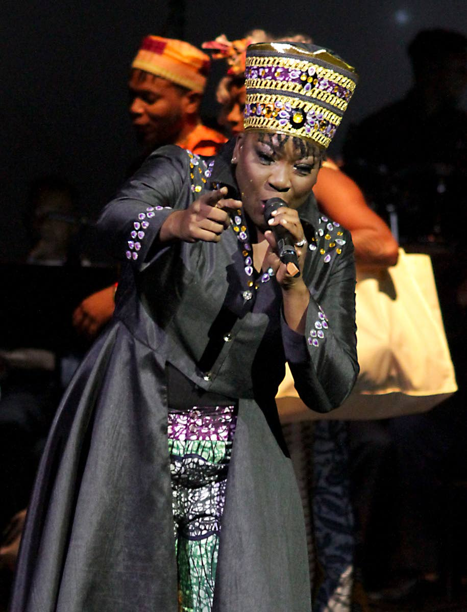 Stacy Sobers in her winning performance as the 2018 Calypso Queen. She is seeking to extend her rule to Calypso Monarch in the Dimanche Gras final.