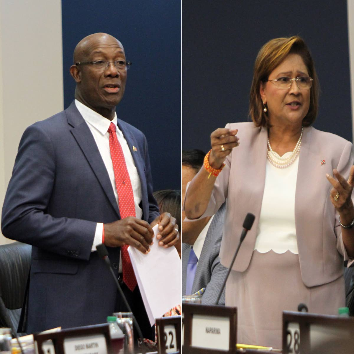 WE AGREE: Prime Minister Dr Keith Rowley and Opposition Leader Kamla Persad-Bissessar, seen in this composite photo, both agreed in the House yesterday that controversial issues surrounding the appointment of a Commissioner of Police should be dealt with by a Special Select Committee of Parliament. PHOTO BY SUREASH CHOLAI