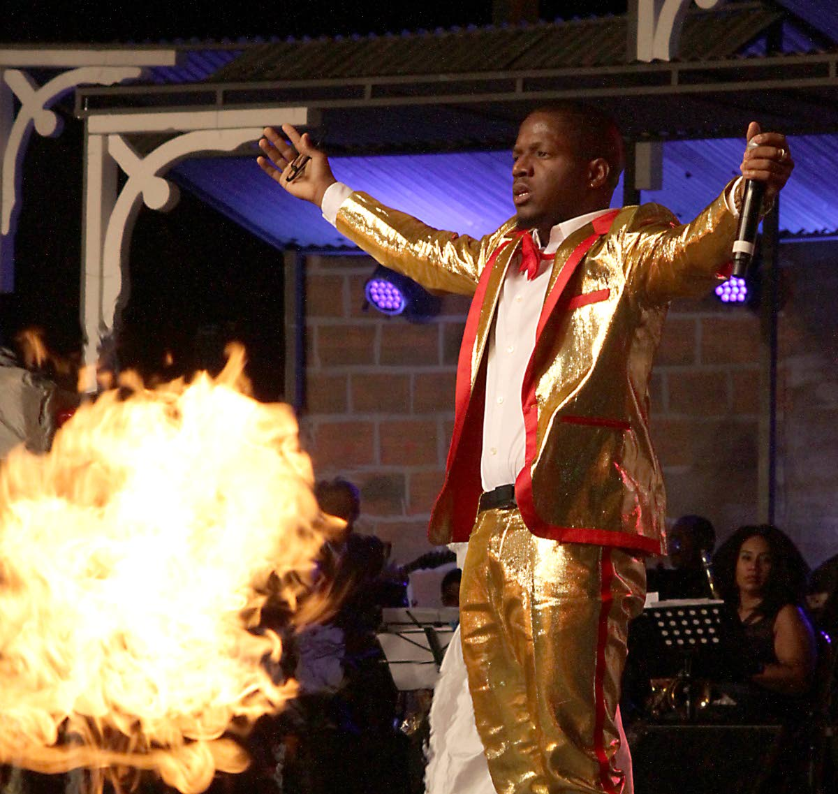 "FIRE FOR DEM: Having has a bumper Carnival season with his Year For Love, Aaron ""Voice"" St Louis placed second in his first outing at the National Calypso Monarch final at Queen's Park Savannah, Port of Spain on Sunday."