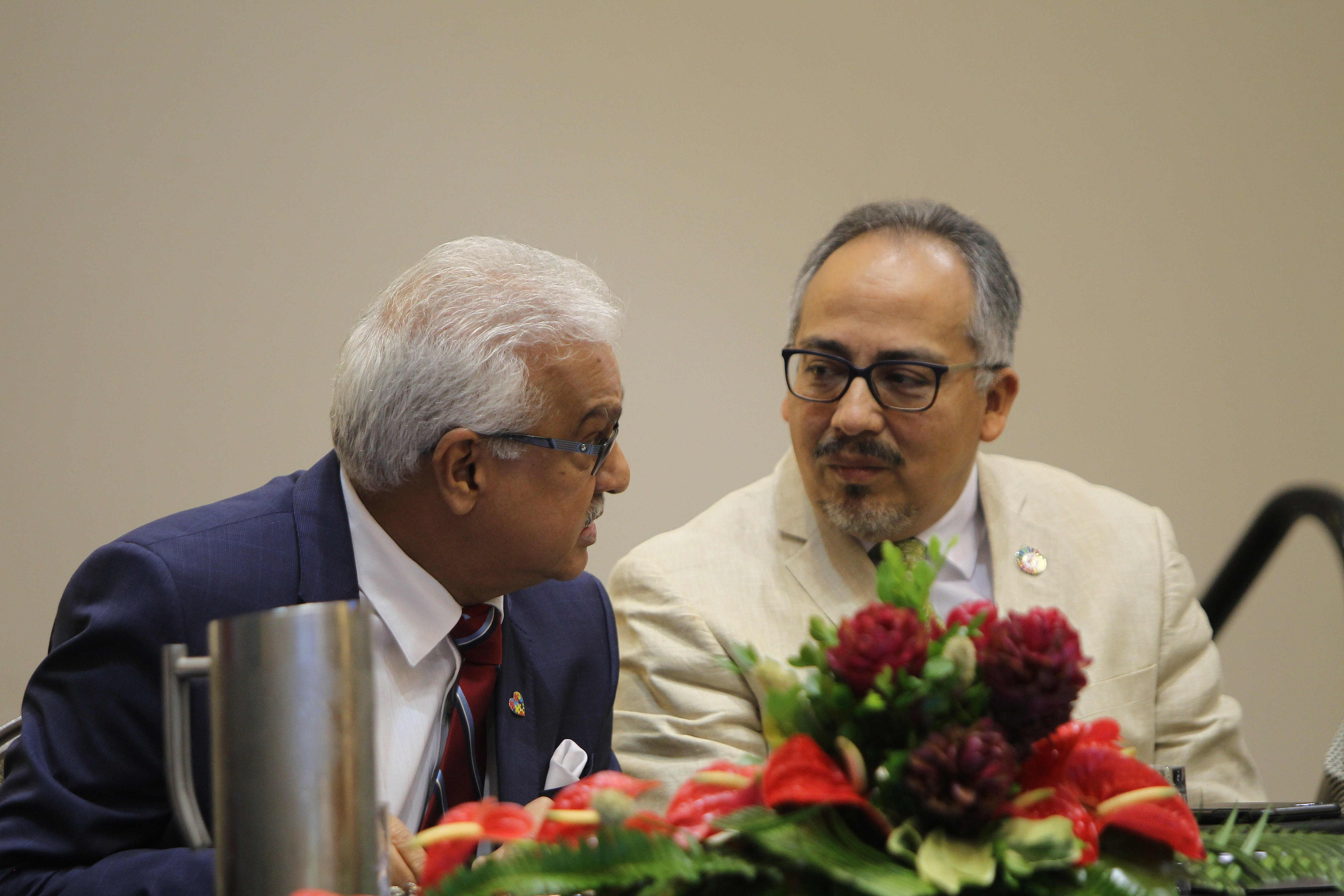 HEALTH TALKS: Health Minister Terrence Deyalsingh, left, and Dr Cesar Nunez, UNAIDS Director for Latin America and the Caribbean, yesterday at 6th Meeting of the National AIDS Programme at the Hyatt Regency in Port of Spain. PHOTO BY RATTAN JADOO