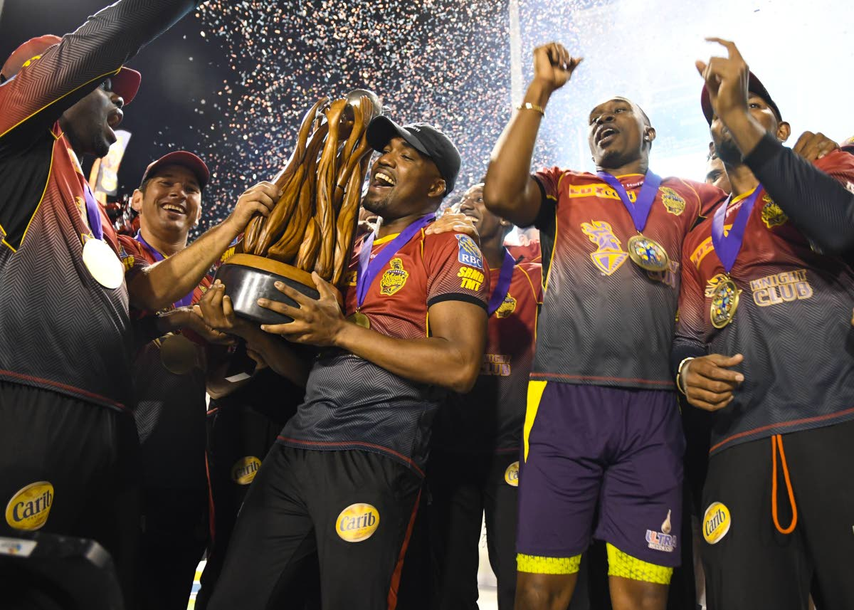 In this file photo,Trinbago Knight Riders celebrate victory in the 2017 Hero Caribbean Premier League final at the Brian Lara Academy, Tarouba.