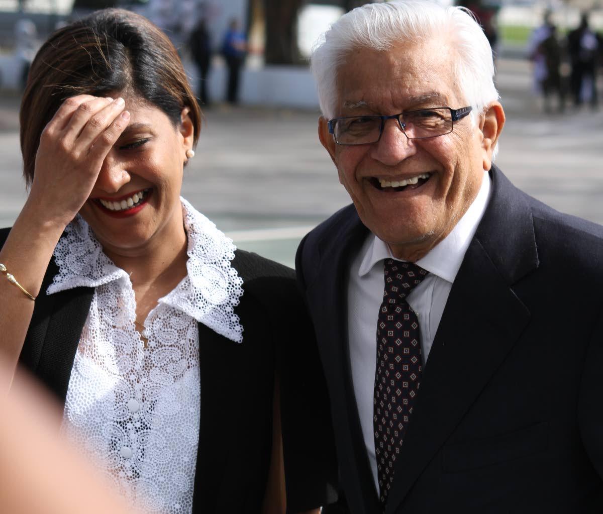 Basdeo Panday and his daughter Mickela.