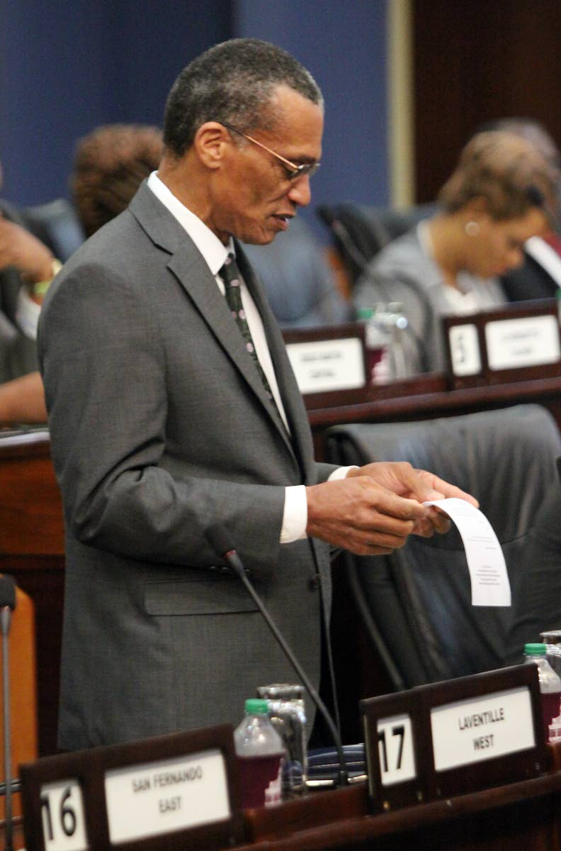 Senator the Honourable Dennis Moses, Minister of Foreign and CARICOM Affairs, at Parliament. Photo: Angelo Marcelle