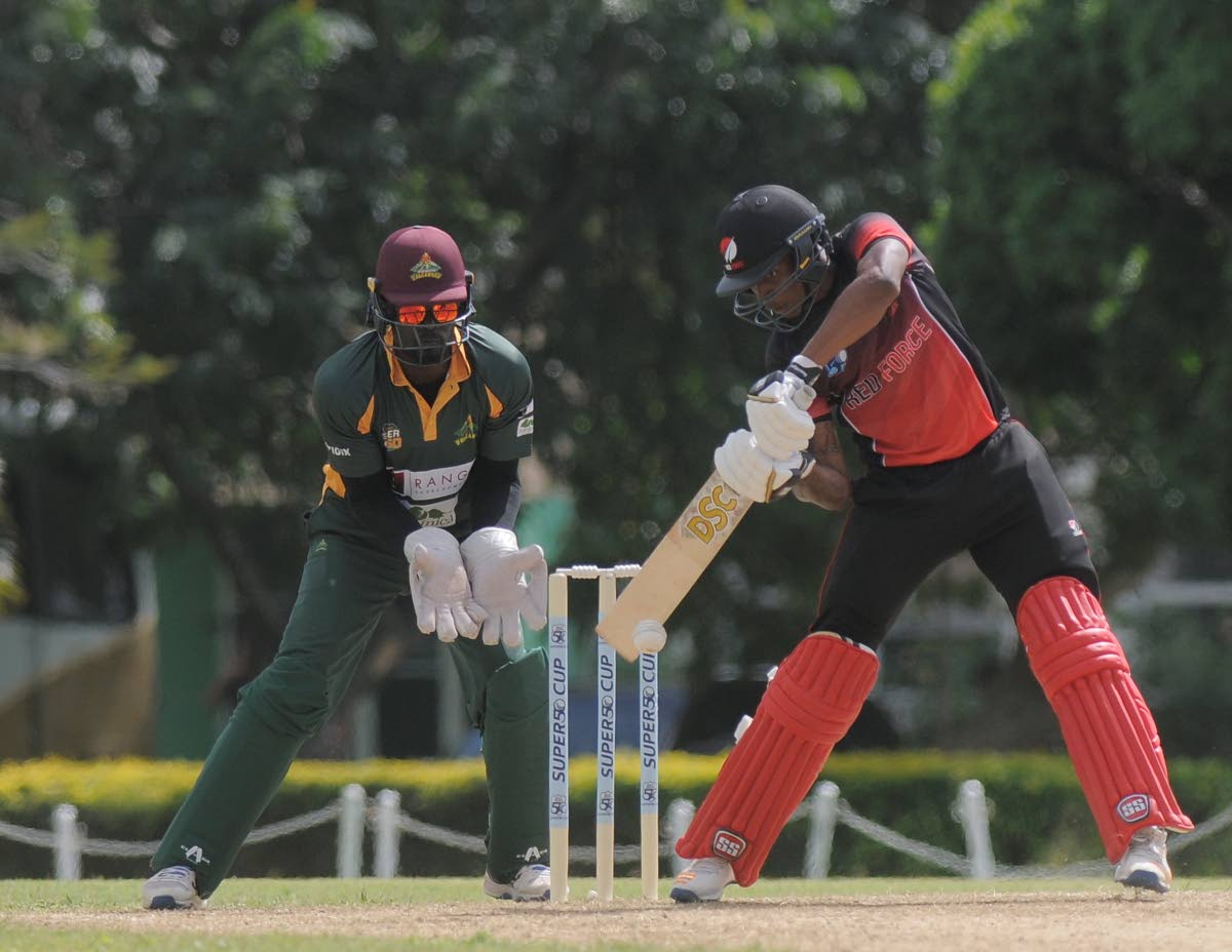 Red Force batsman Tion Webster plays a shot against the Windward Islands in the Regional Super50 competition.