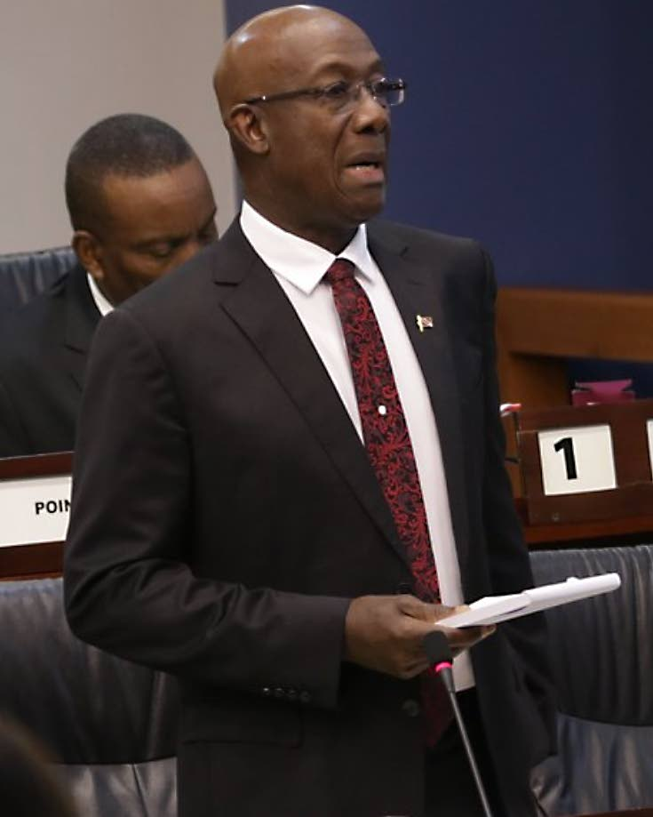 REPORT TO THE NATION: Prime Minister Dr Keith Rowley speaks on the threat of terrorism to the nation, in the House of Representatives yesterday. PHOTO COURTESY PARLIAMENT OF TT