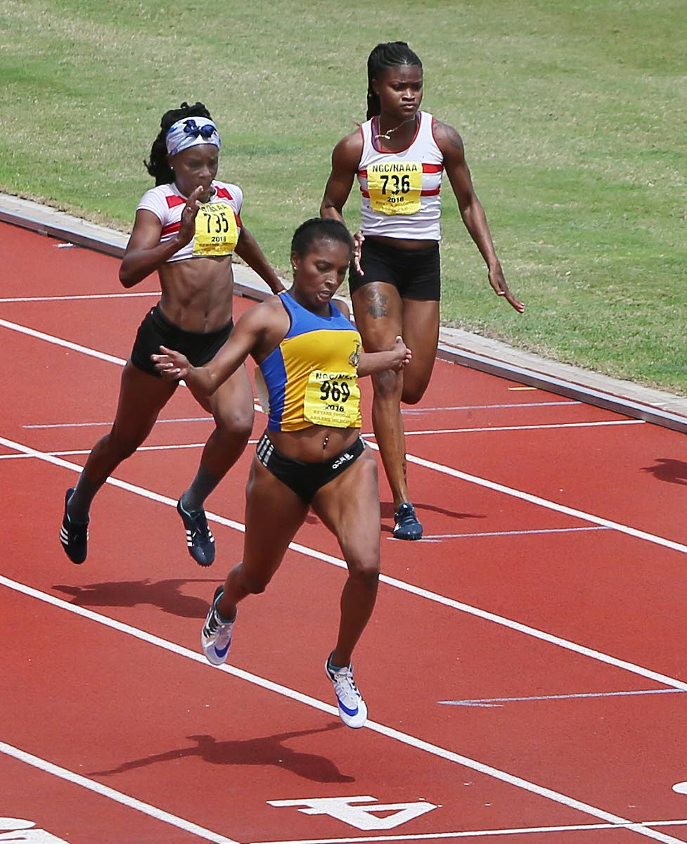 Reyare Thomas wins the women's 100m final on Saturday at the NAAA pre-Commonwealth meet at the Hasely Crawford Stadium, Mucurapo.