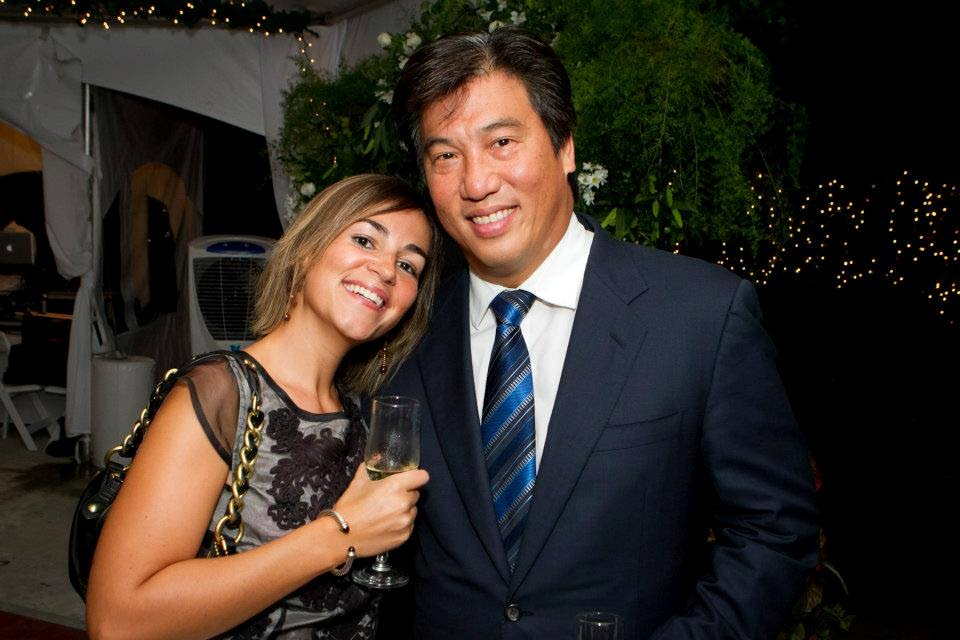 Laetitia Nadaud, left, and husband former national security minister Howard Chin Lee at a function