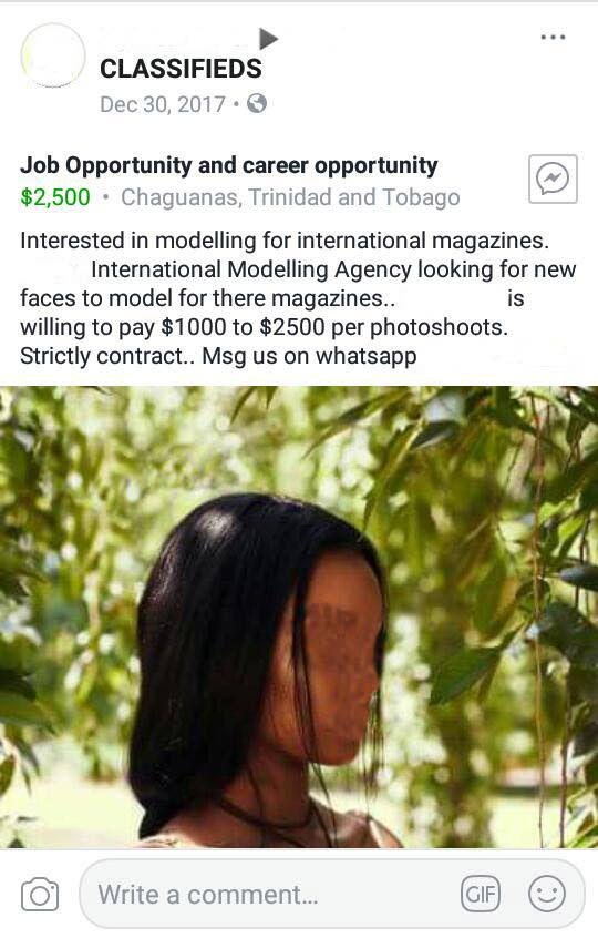 This is an image of the classified advertistement a rape suspect used promising aspiring models money to be photographed for an international modelling agency. The name of the suspect, the agency and telephone number have been removed and the image of the woman has been blurred because of the investigation.