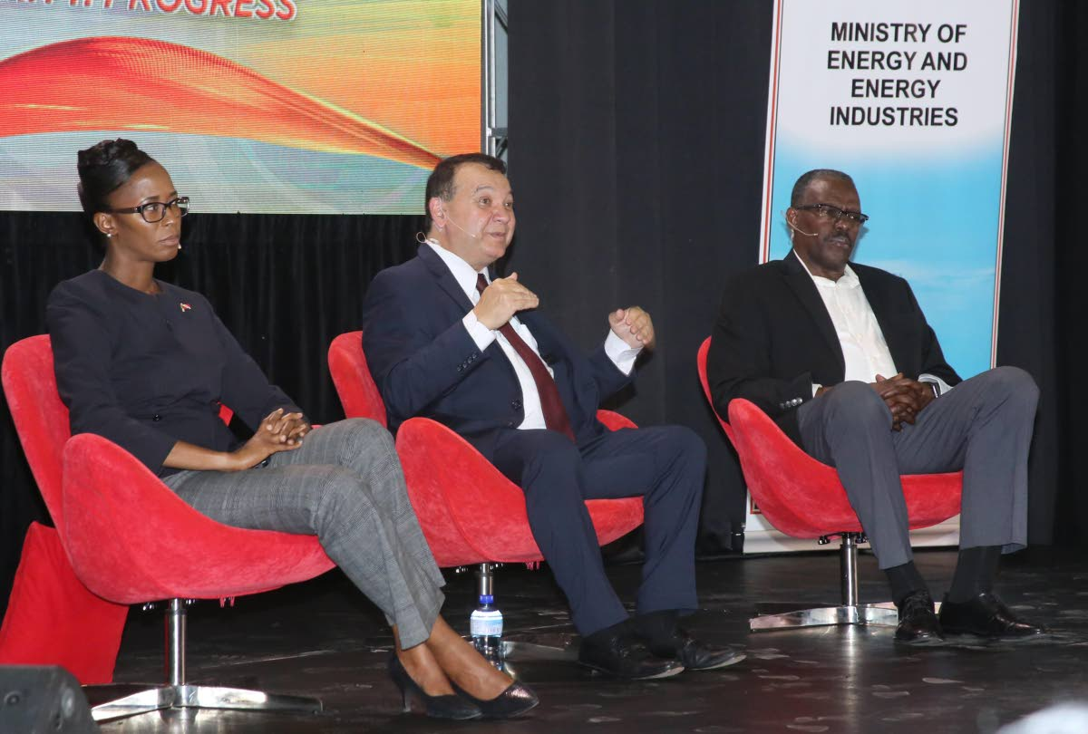 ENERGY TALKS: From left, La Brea MP Nicole Olivierre, Energy Minister Franklin Khan and Pt Fortin MP Edmund Dillon at an energy meeting at the Vessigny High School on Wednesday. PHOTO BY VASHTI SINGH