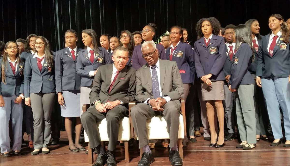 President Anthony Carmona, sitting front left, with participants in the President's Awards programme athe the Southern Academy for the Performing Arts yesterday.