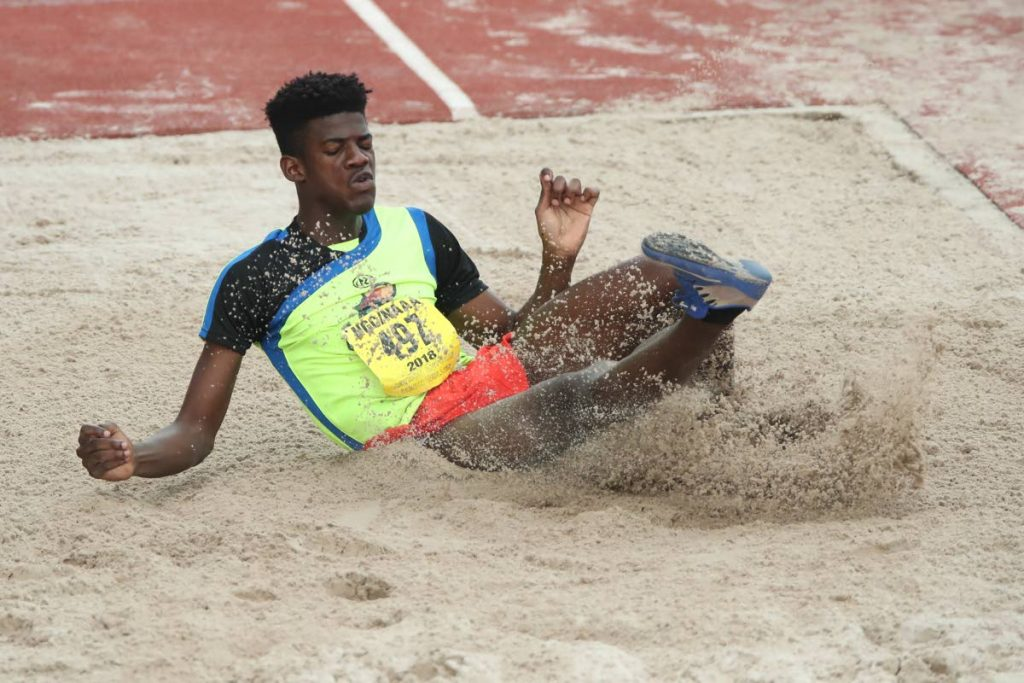 Jaydon Antoine of Neon Wolves qualified yesterday for the Boys Under 20 Long Jump with a best distance of 7.25m,  during the Session 4, Day 2 of the 2018 NGC/NAAATT CARIFTA Trials at the  Hasely Crawford Stadium, Mucurapo.