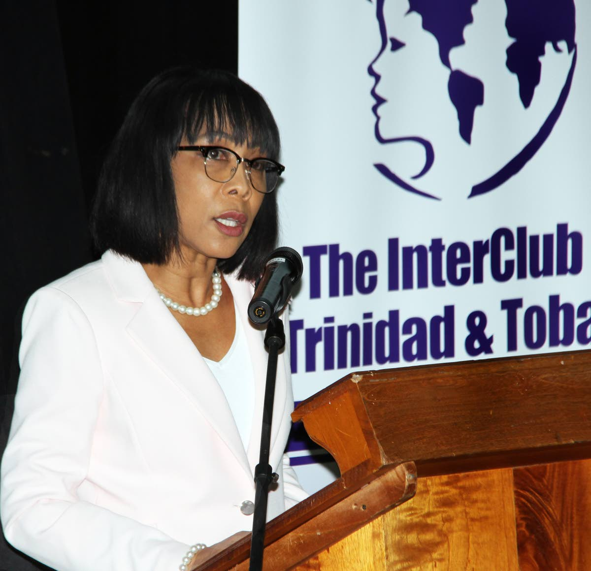Sharon Rowley calls for equality and dignity for women at the University of the West Indies yesterday.