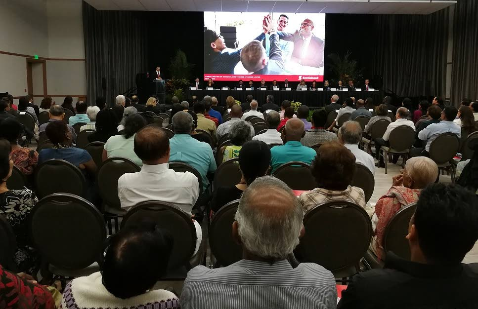 Scotiabank 48th annual meeting of shareholders: Shareholders listen as Scotiabank TT Managing Director Stephen Bagnarol (at podium) speaks about the bank's digital strategy during the its 48th Annual Meeting of Shareholders at Hyatt Regency, Port of Spain on March 6, 2018. PHOTO BY SASHA HARRINANAN.