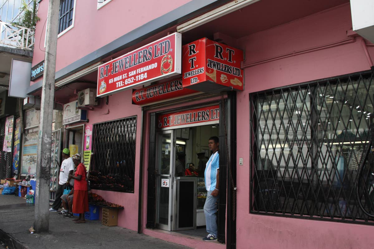 RT Jewellers on High Street in San Fernando, a day after bandits staged a daring daylight robbery on Tuesday.
