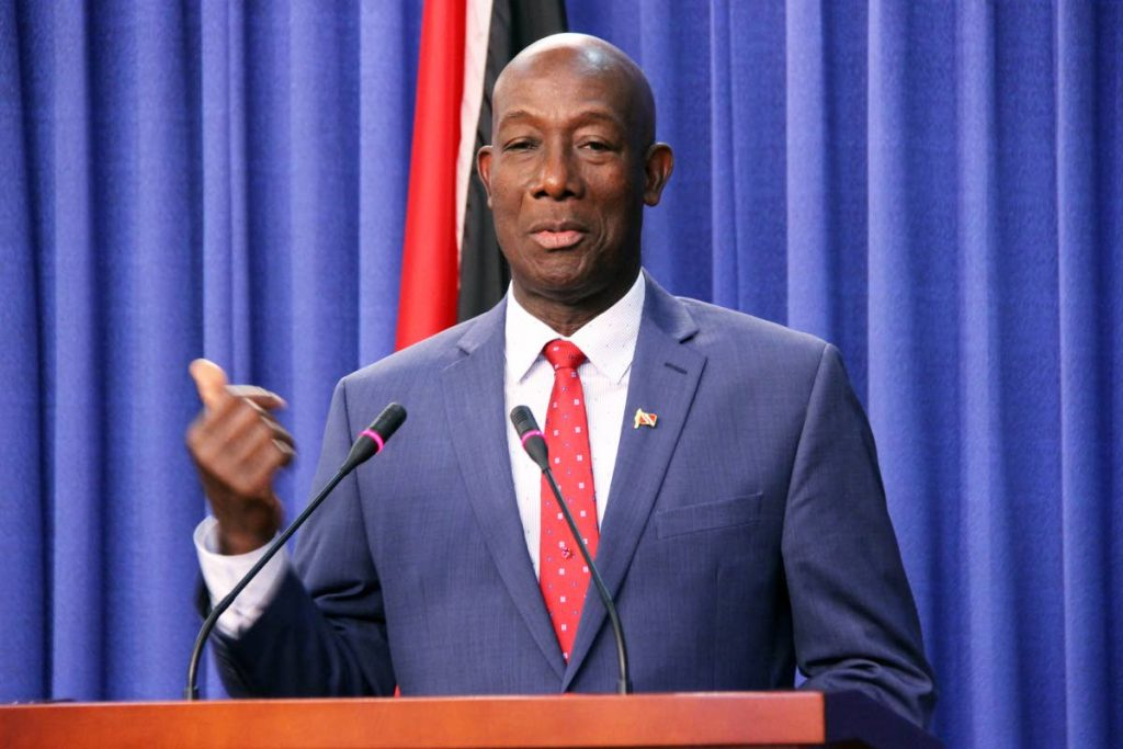Prime Minister Dr. Keith Rowley at the Diplomatic Centre during a post cabinet press briefing.