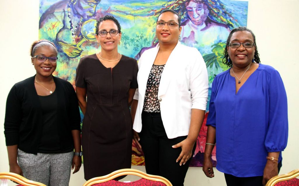 The Coalition Against Domestic Violence along with partner organisations believe domestic violence and violence are at crisis proportions in TT and the Caribbean. The comment was made at a press conference on March 16 at the coalition's Robinsonville office, Belmont. The panellist included  Leah Thompson , project coordinator at Institute of Gender and Development Studies, UWI, left;  Roberta Clarke, president of The Coalition against Domestic Violence; Simone Leid, representative of The WomenSpeak Project and  Professor Rhoda Reddock, representative of Caribbean Association for Feminist Research and Action. PHOTO BY SUREASH CHOLAI