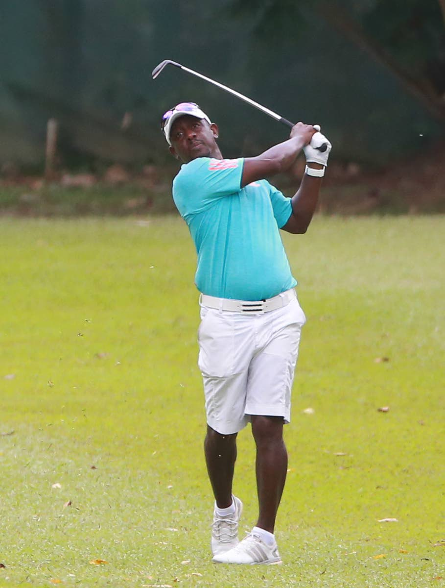 Championship Division's and former TT National footballer Russel Latapy, makes an approach from the fairway of the 18th, during day 2 of the Trinidad and Tobago Golf Association (TTGA) Open Tournament 2018 at St Andrew's Golf Club, Moka yesterday. PhotoS bY Allan V. Crane/CA-images
