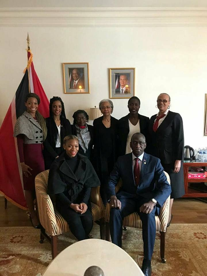 HILARIANS UNITE: Trinidad and Tobago Ambassador to the United States in Washington, DC Brigadier General Anthony Phillips-Spencer (seated left) host Hilarians yesterday in honour of the inauguration of former Bishop Anstey High Scholl student Paula Mae-Weekes as President.