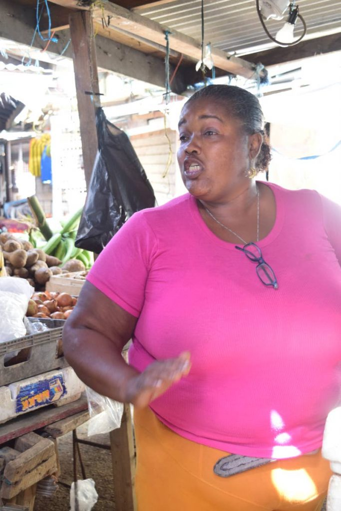 Vendor Eglah Roach-Adams tells her tale of woe in using the Cabo Star to transport vegetables to Tobago.