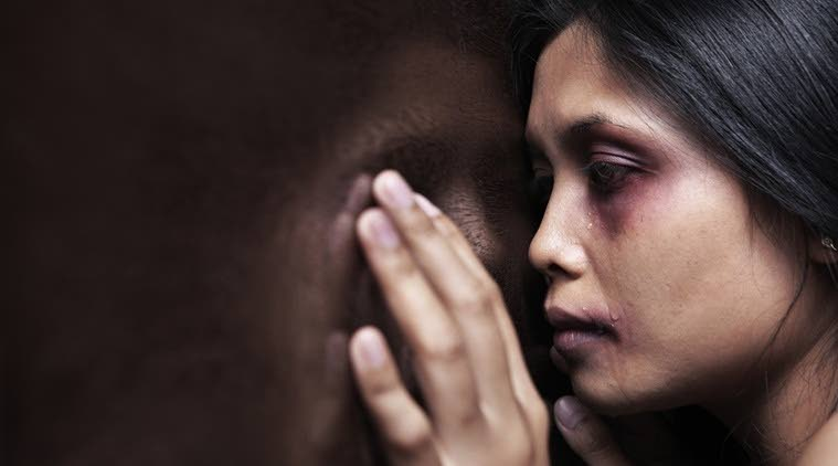 An image of an abused woman. Source: www.indiaexpress.com