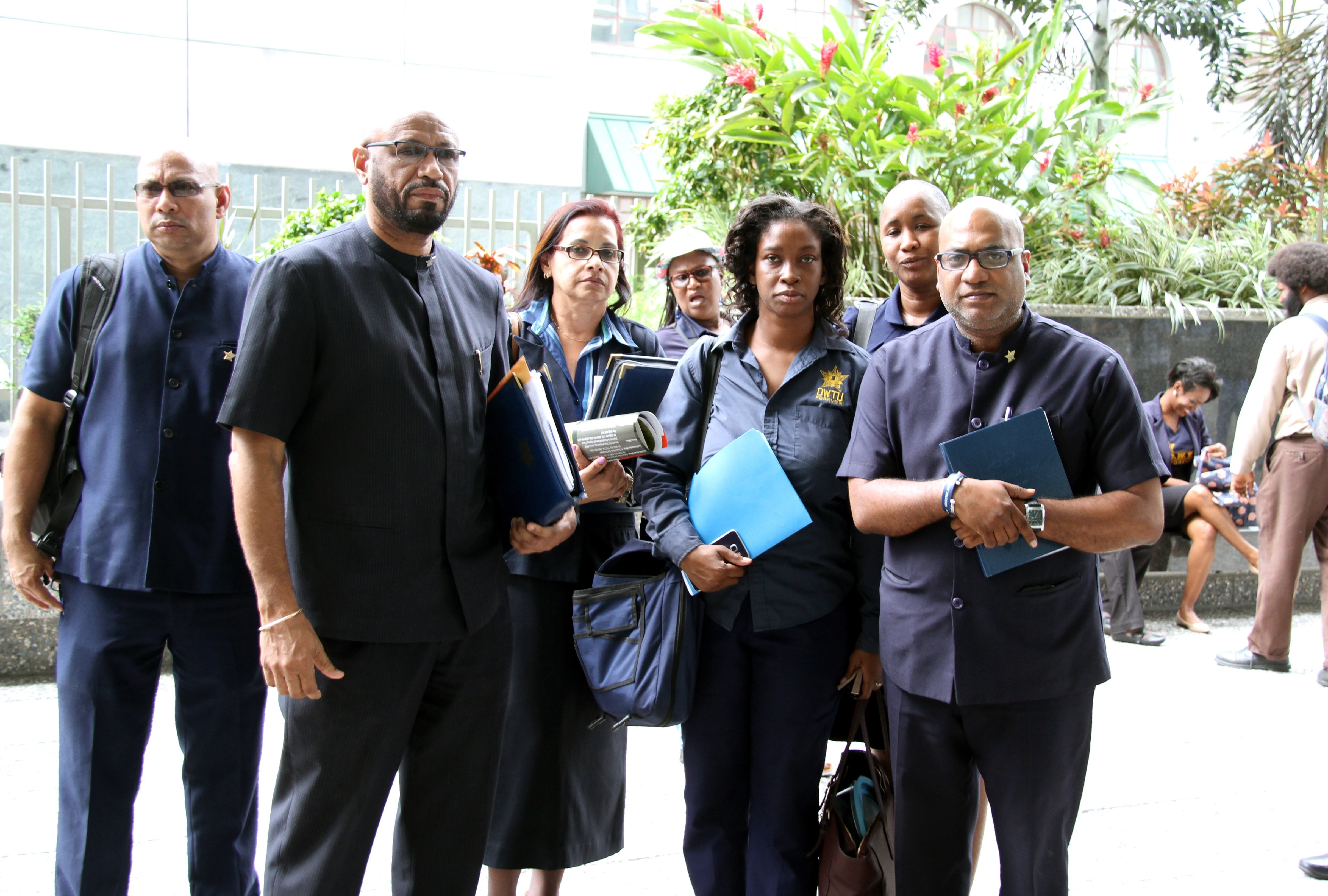 WARNING: OWTU president general Ancel Roget (second from left) led a delegation to discuss the future for some 287 UTT workers at the Ministry of Education, St Vincent Street, Port of Spain yesterday. PHOTO BY SUREASH CHOLAI