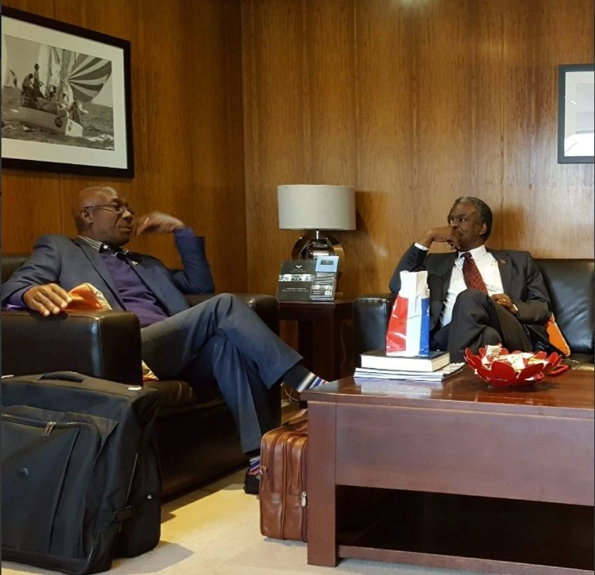 PM IN LONDON: This photo, posted on the Twitter page of the Office of the Prime Minister, shows PM Dr Keith Rowley with TT High Commissioner to London Orville London, on his arrival yesterday to the UK to attend the Commonwealth Heads of Government  Meeting.