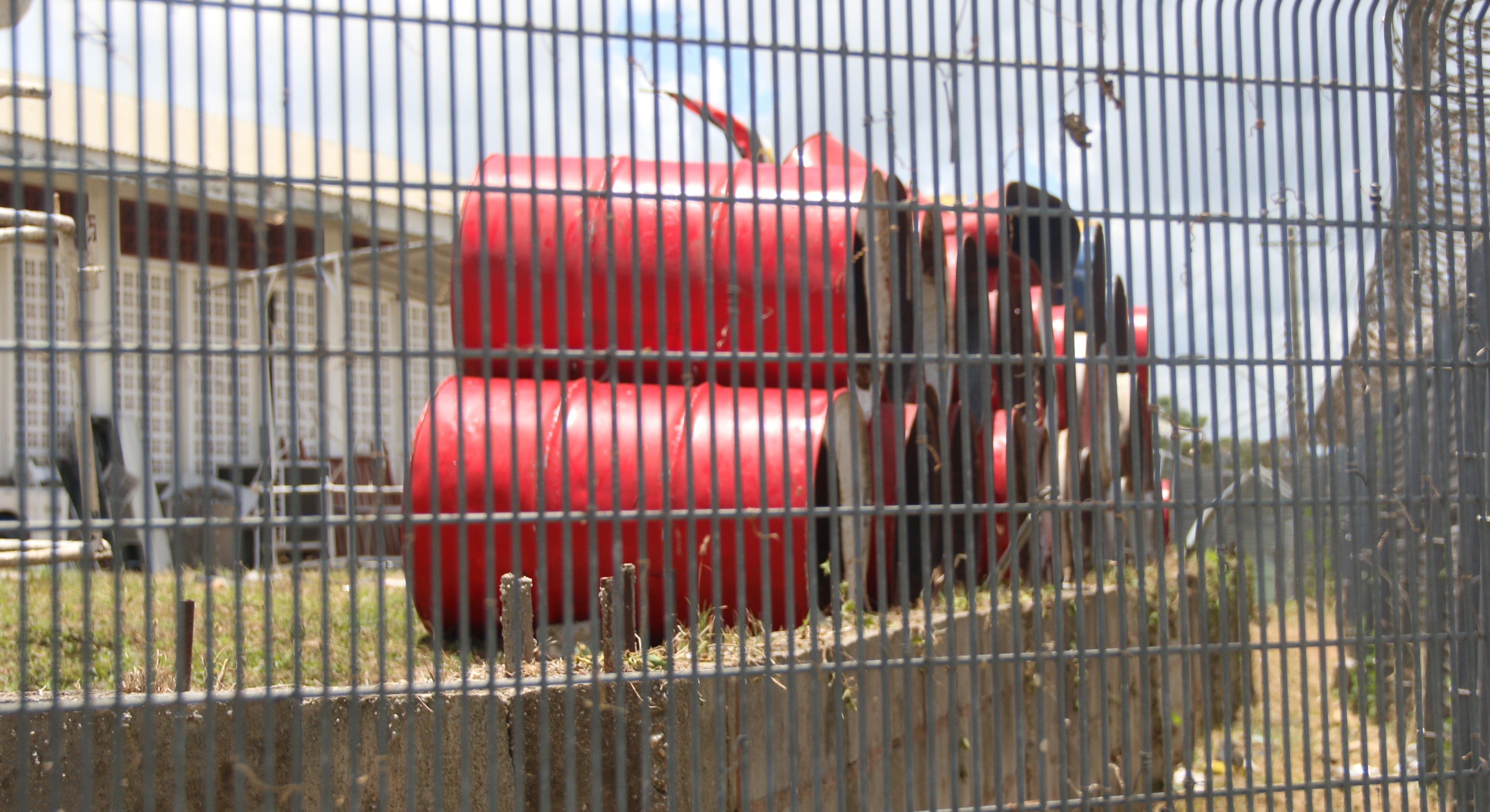 DUMPED: Some of the steelpans belonging to the Old Tech Steel Orchestra which have been dumped behind the San Fernando West Secondary School. PHOTO BY ANSEL JEBODH