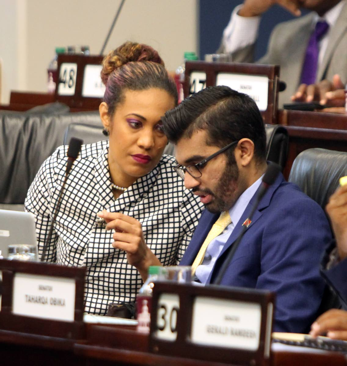 Opposition Senators Khadijah Ameen and Saddam Hosein