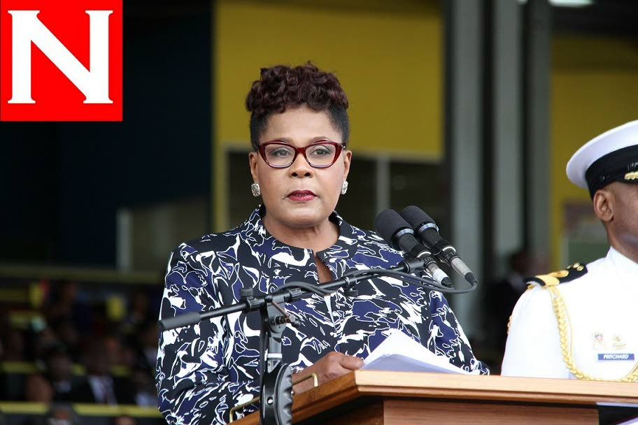 TT President Paula-Mae Weekes addresses the nation during her inauguration ceremony on the morning of March 19, Queen's Park Savannah, Port of Spain. PHOTO BY SUREASH CHOLAI.