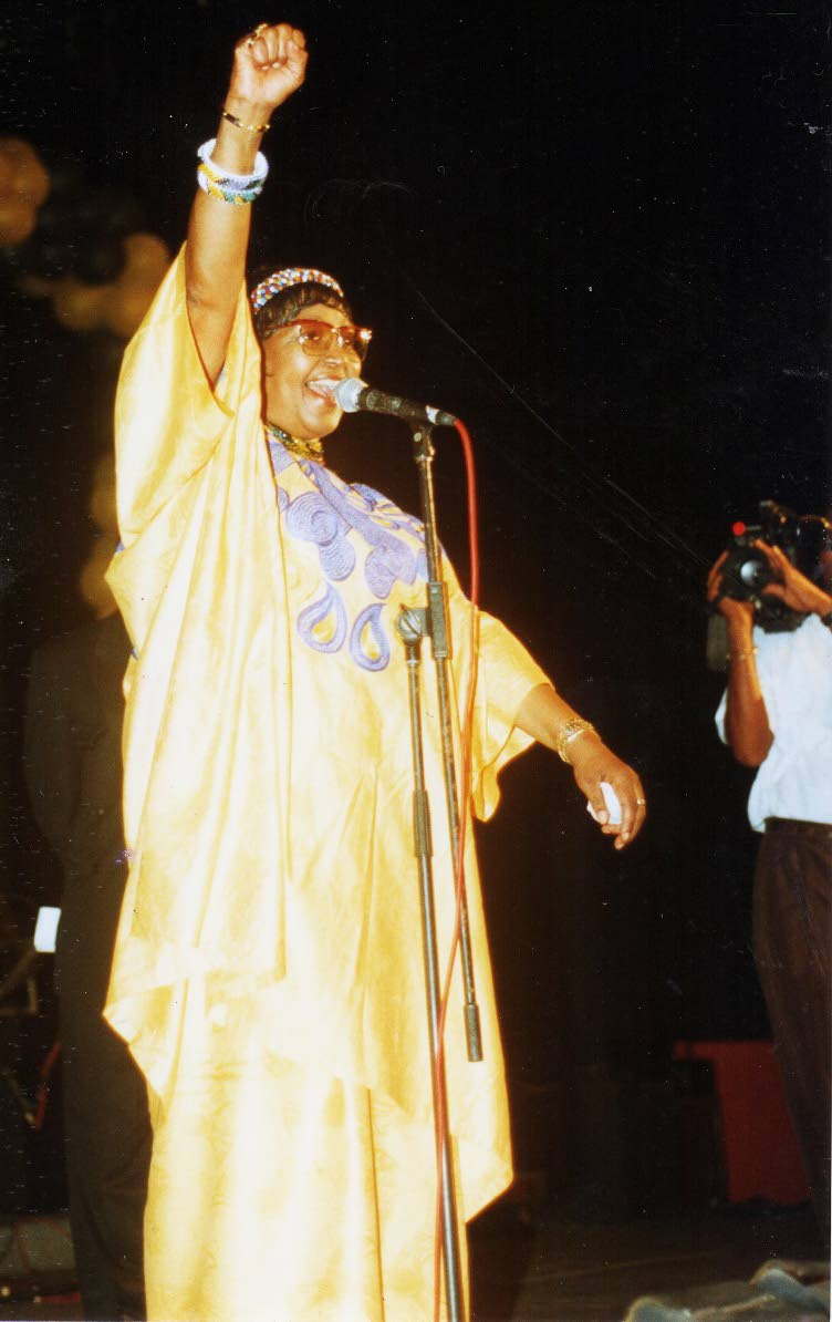 Winnie Mandela addresses secondary school students at Spektakula Forum on Henry Street, Port of Spain during her 1998 visit to Trinidad on the invitation of the Emancipation Support Committee (EMC). PHOTO COURTESY THE EMC.