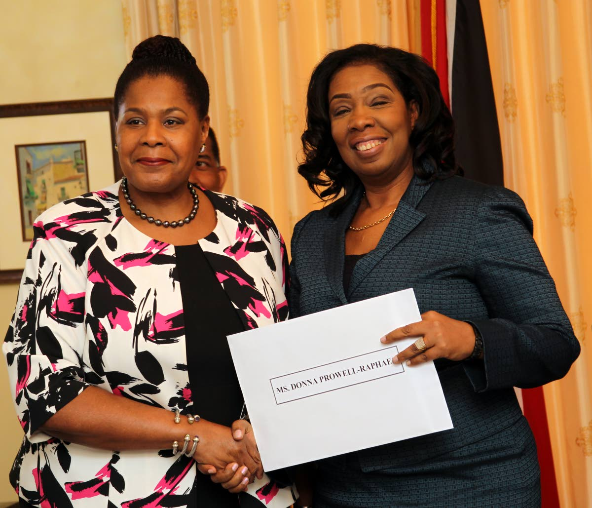 President Paula-Mae Weekes poses during her  first official duty, the swearing-in of Chairman of the Equal Opportunity Tribunal, Mrs Donna Prowell-Raphael. Photo by Rattan Jadoo.