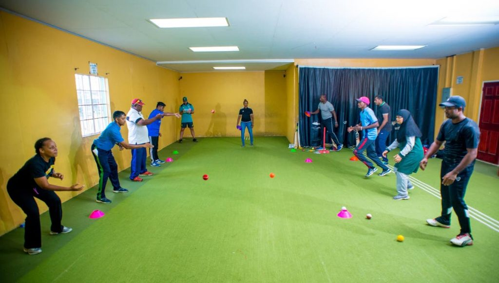 Coaches hone their catching skills in the recent Cricket Australia training session in the Atlantic Coaching Excellence (ACE) programme.
