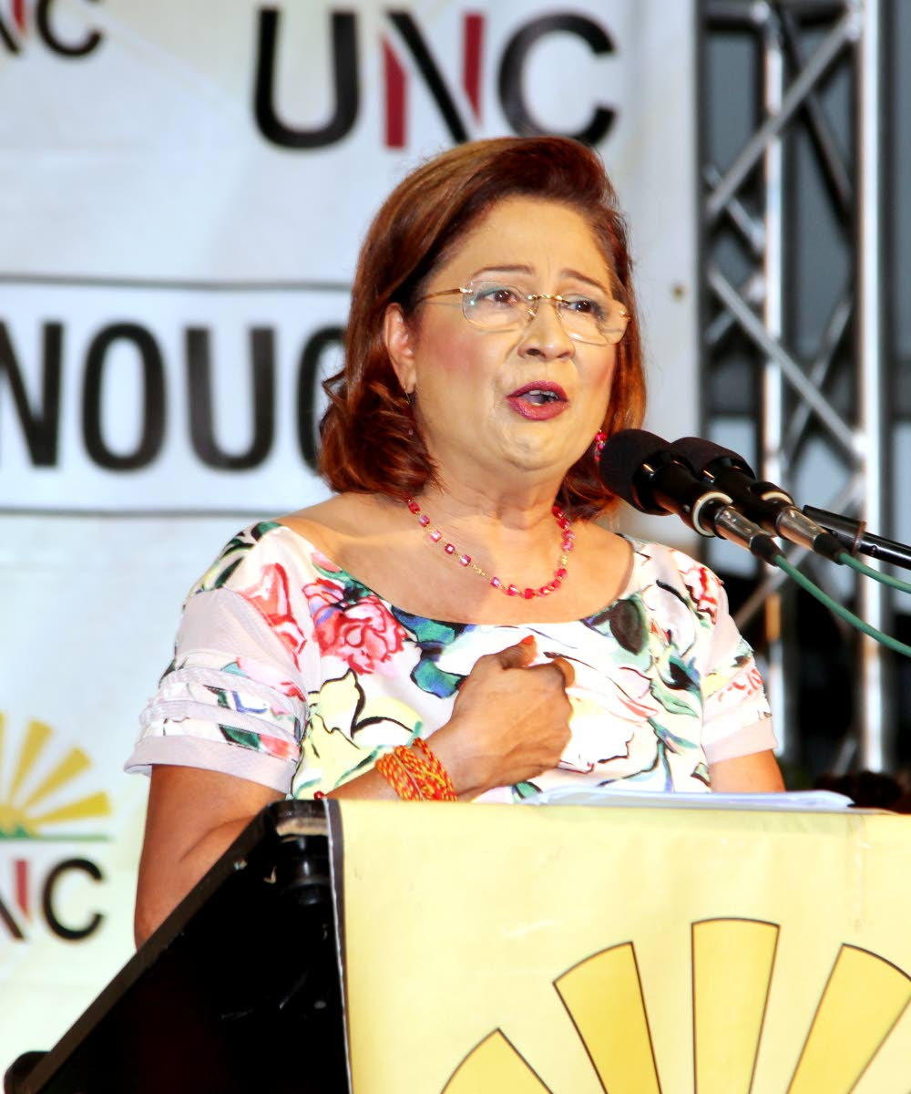 Opposition Leader Kamla Persad-Bissessar speaks at the UNC's Monday Night Forum at the Bamboo No 2 Govt Primary School. PHOTO BY SUREASH CHOLAI