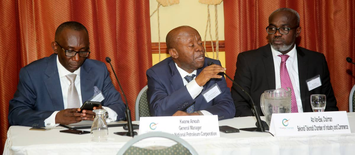MY POINT IS: Ogyeahoho Yaw Gyebi, President of Western Regional House of Chief, centre, addresses a joint trade mission between the Sekondi Chamber of Industry and Commerce; Ghana National Petroleum Corporation  and TT South Energy Chamber at Cara Suites on Tuesday. At left is General Manager Dr Kwame Amoah and at right is Ato Van-Ess. PHOTO BY VASHTI SINGH