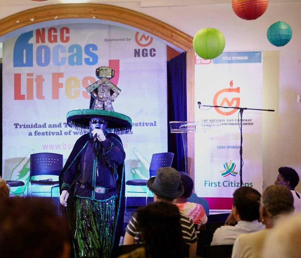 Midnight Robber Damian Whiskey performing at 2016 NGC Bocas Lit Fest.