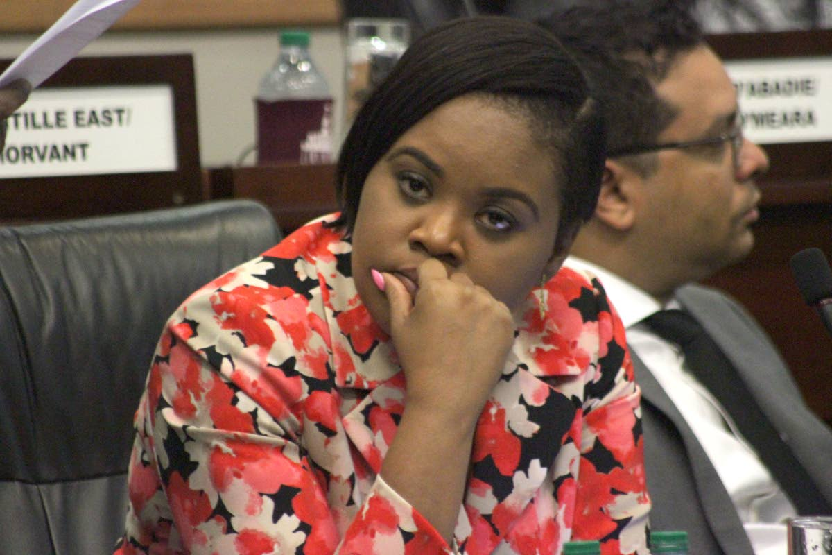Sports Minister Shamfa Cudjoe at a Parliament sitting in April. PHOTO BY ROGER JACOB