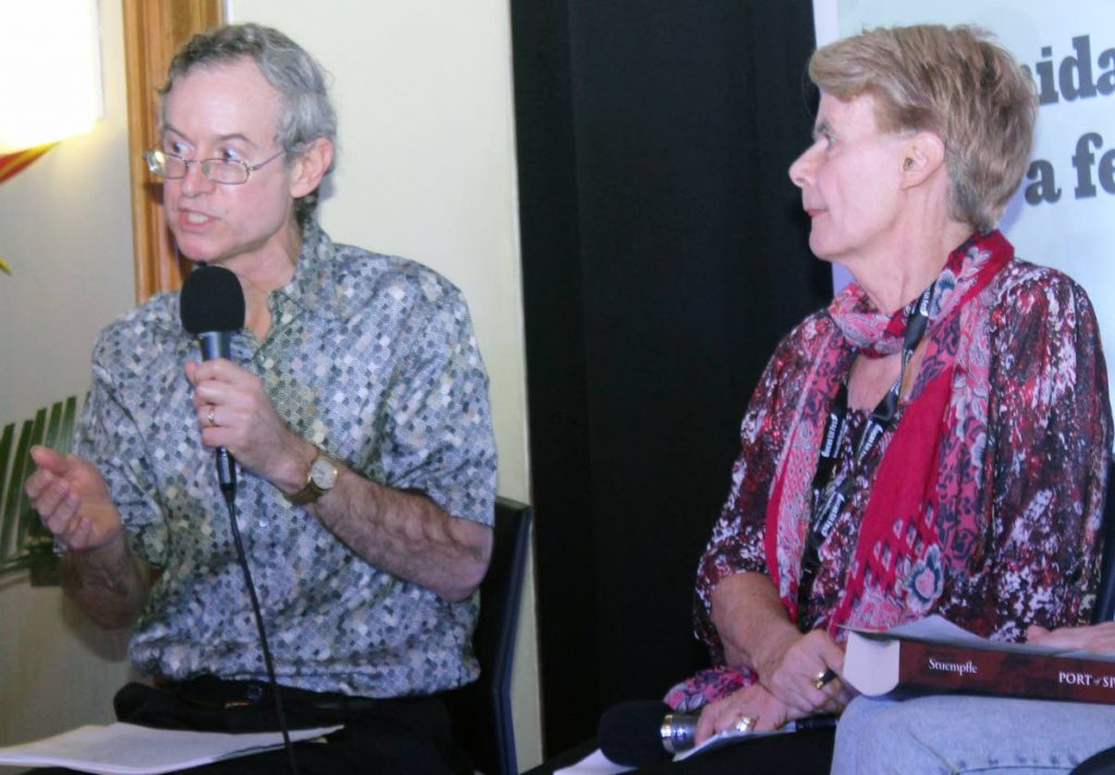 CITY TALKS: Author Stephen Stuempfle discusses his book Port of Spain: The Construction of a Caribbean City, 1888 - 1962 last week at the Old Fire Station in Port of Spain. Also in photo is noted historian Prof Emerita Bridget Brereton. PHOTOS BY ENRIQUE ASSOON