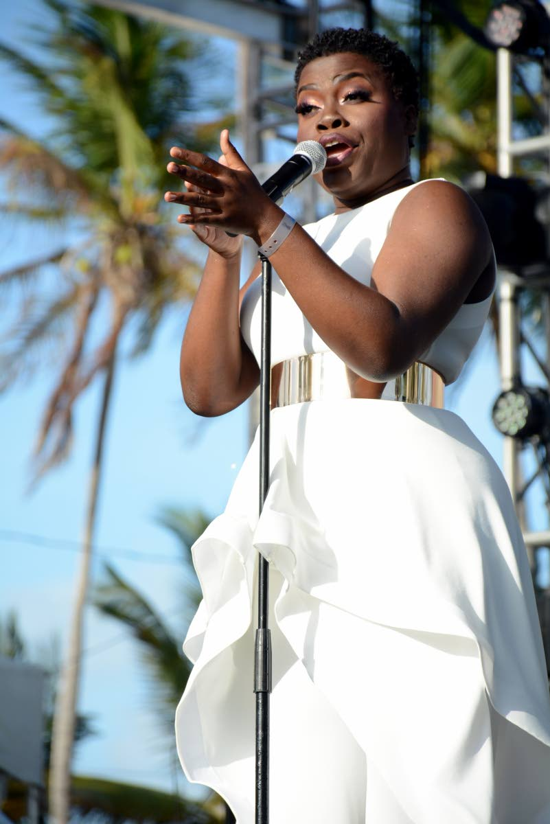 Vocalist Llettesha Sylvester performs at Sunday's International Music Night of the Tobago Jazz Experience the Pigeon Point Heritage Park.