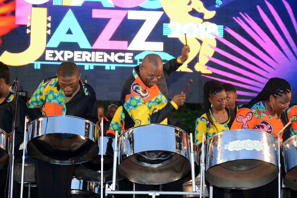 Pannists with BP Renegades perform at 2018 International Music Night of the Tobago Jazz Experience the Pigeon Point Heritage Park.